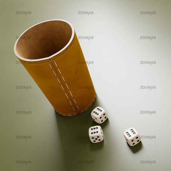 leather cup and three dice showing six