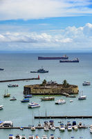 All Saints bay and fortification in Salvador city, Bahia