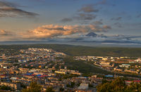 Petropavlovsk-Kamchatsky city at sunset