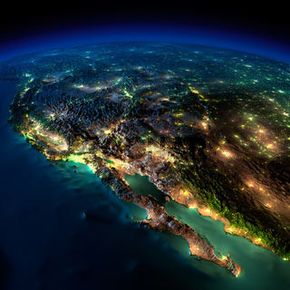 Night Earth. A piece of North America - Mexico and the western U.S. states