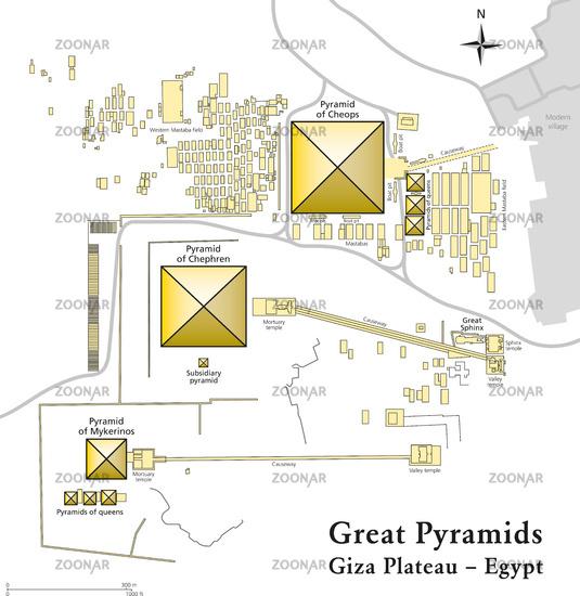 Pyramiden von Gizeh Karte