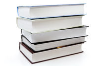 five different books on white background