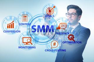 Businessman pressing button in SMM concept