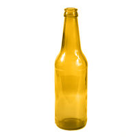 Open empty glass beer bottle
