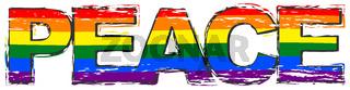 Word PEACE with pride rainbow flag (symbol of LBGT) under it, distressed grunge look.
