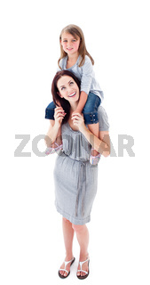 Attentive mother giving her daughter piggyback ride