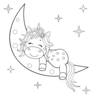 Unicorn baby on the moon coloring book