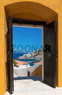 The island of Hydra, Greece, through an open door