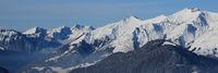 Snow covered mountain range Vanil Noir seen from Horneggli.