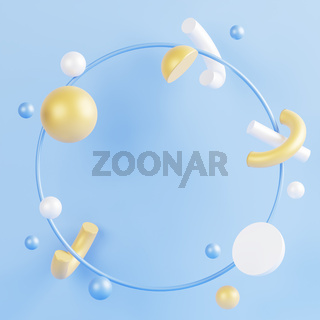 Round frame with empty space inside. 3D illustration.