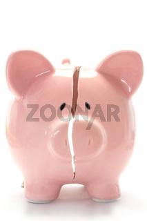 Close up of piggy bank broken