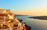 Santorini in Greece at sunset