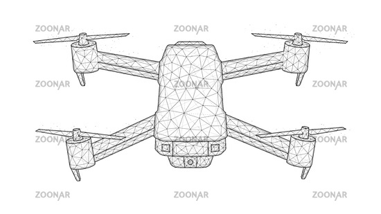 Quadcopter low poly design, drone polygonal vector illustration. Unmanned aerial vehicle concept design.