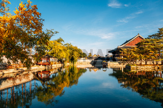 Gyeongbokgung Palace Gyeonghoeru Pavilion at autumn in Seoul, Korea