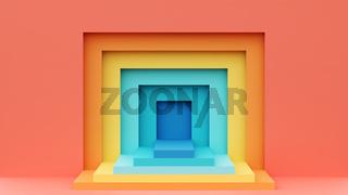 Empty platform. Colorful 3D illustration.