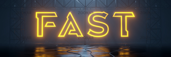 glowing neon tube sign fast