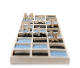 Box with word MATRIX on white