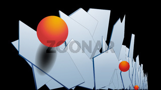 Stylish modern 3D polygonal background of vertical hexagons with a metal surface and orange volumetric balls. Light plane in hexagons. The outgoing prospect. Multilayer composition. Vector.