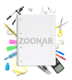 Notepad with lots of office objects