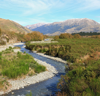 curve river to alpine alps mountain at Arthur's Pass National Pa