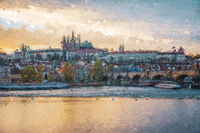 Panoramic view of the old town of Prague. Multicolored texture painting.