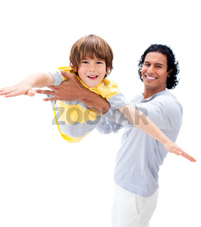 Animated father and his son playing together isolated on a white background