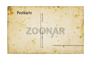 Alte deutsche Postkarte, isoliert auf weiss