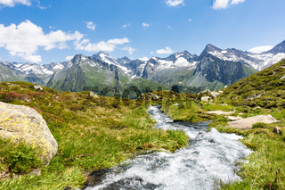 Bergbach im Wieser Werfer Moos Biotop bei Prettau im Ahrntal, Südtirol, Italien