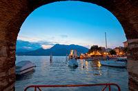 Town of Varenna scenic lakeside evening view, Como lake
