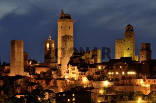 San Gimignano nigthview of medieval city, Tuscany