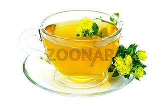 Herbal tea with flowers Rhodiola Rosea on saucer