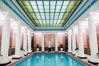 Moscow, Russia - December 19, 2017: Famous Sandunovskiye Bath Swimming Pool in Moscow. Wellness complex of Sanduny banya, pools and saunas