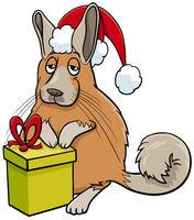 cartoon viscacha animal character with gift on Christmas time