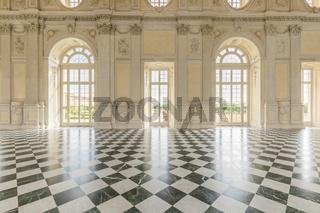 Corridor with floor made of luxury marbles. Plenty of elegance for this Italian interior in Venaria Reale, Piedmont region - Italy