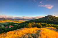 Sunrise on the hill in Central Bohemian Uplands