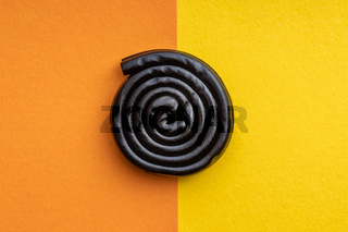 Spiral from liquorice candy