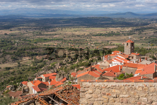 Monsanto historic village with stone boulder buildings and rooftops, in Portugal