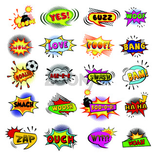 Comic book lettering collection on white background - Vector