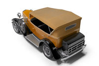 Classic retro car orange isolated back view 3d rendering on white background with shadow