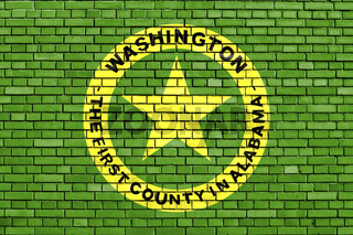 flag of Washington County, Alabama painted on brick wall