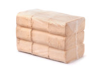 Packed organic pressed sawdust fuel briquettes