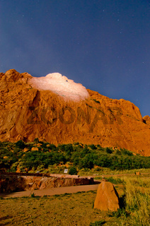 Nighttime Shot of the Rock Formations at Garden of the Gods in Colorado Springs, Colorado