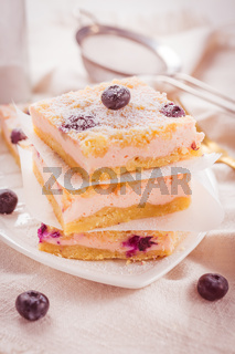 Homemade Layer Cheesecake with blueberries and powdered sugar