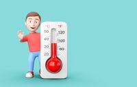 Young 3D Cartoon Character with Thermometer on Blue Background with Copy Space