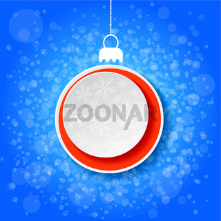 Christmas Bauble Snowflake Paper Label Blue Background