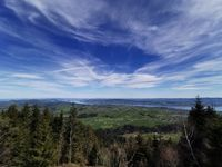 View of lake Zürich from Belleview above Raten pass. Copy space