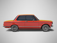 3D rendering red classic car on gray background with shadow