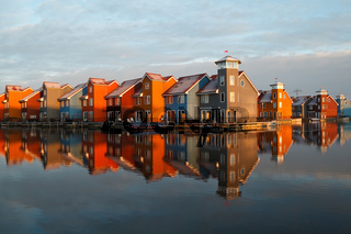 colorful buildings at Reitdiephaven in morning sunlight