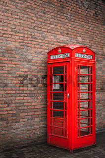 The traditional British public red telephone kiosk or booth