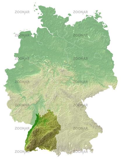 Baden-Württemberg - topografische Relief Karte DE
